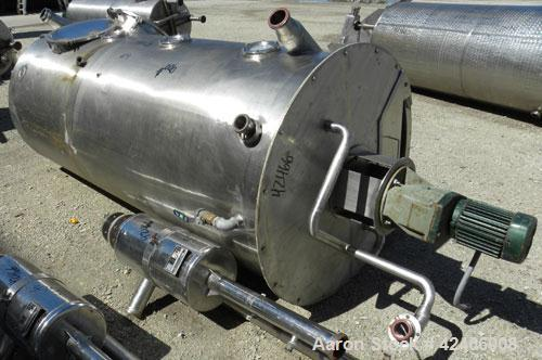 "Used-Tank, 490 Gallon, 321 Stainless Steel, Vertical. 39"" diameter x 96"" straight side, flat bolt on top and flat bottom. 2 ..."