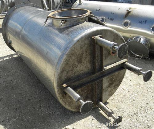 "Used-Tank, 480 Gallon, 304 Stainless Steel, Vertical. 39"" diameter x 93"" straight side, flat bolt top, flat bottom. 3"" diame..."