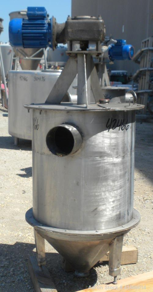 "Used-Lot Of (6) Tanks: (2) Tanks, 304 Stainless Steel, Vertical. 24"" diameter x 25"" straight side, flat bolt top, coned bott..."
