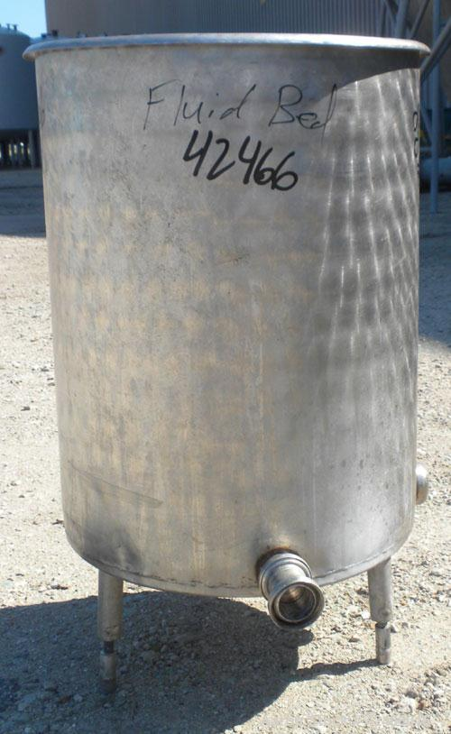 "Used-Tank, 45 Gallon, 304 Stainless Steel, Vertical. 22"" diameter x 28"" straight side, open top no cover, sloped bottom. (1)..."
