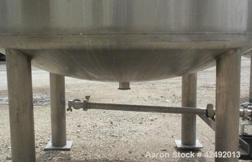 "Used- Tank, 440 Gallon, 304 Stainless Steel, Vertical. 48"" Diameter x 52"" straight side, dished top and bottom. Openings: to..."