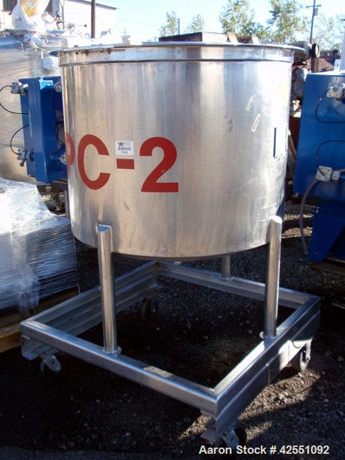 "Used- Tank, 150 Gallon, Stainless Steel. Approximate 40"" diameter x 30"" straight side, open top with cover, dished bottom, 2..."