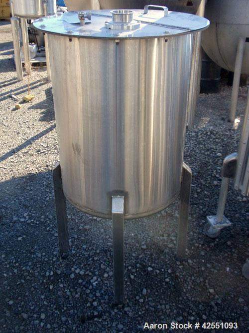 "Used- Tank, 55 Gallon, Stainless Steel. Approximate 24"" diameter x 30"" straight side, open top with cover, dished bottom, 2""..."