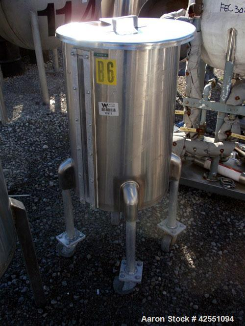 "Used- Tank, 30 Gallon, Stainless Steel. Approximate 18"" diameter x 28"" straight side, open top with cover, dished bottom, 1""..."