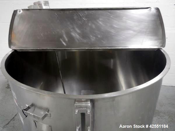 "Used- Bush Tank, 425 gallon, stainless steel construction, approximately 52"" diameter x 48"" straight side, open top with cov..."
