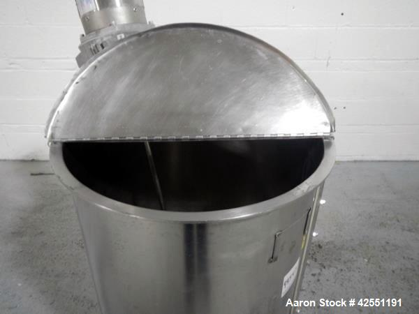 "Used- Bush Tank, 60 gallon, stainless steel construction, approximately 24"" diameter x 32"" straight side, open top with hing..."