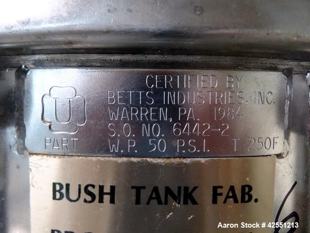 "Used- Betts Industries Receiver Tank, Stainless Steel. 20"" Inside Diameter x 41"" inside straight side. Hinged dished top, fl..."