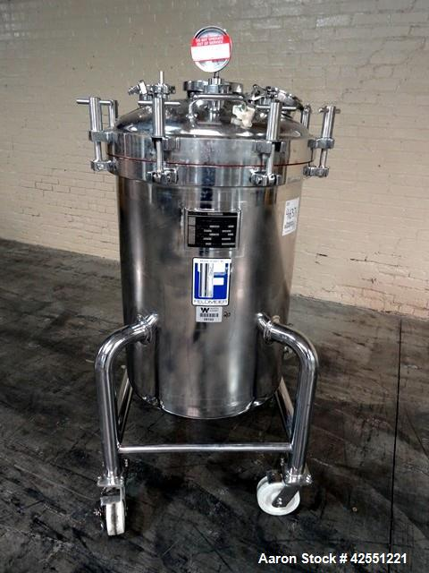 "Used- Feldmeier Receiver Tank, 60 Gallon, Stainless Steel. 24"" Diameter x 30"" straight side. Hinged dished top with assist, ..."