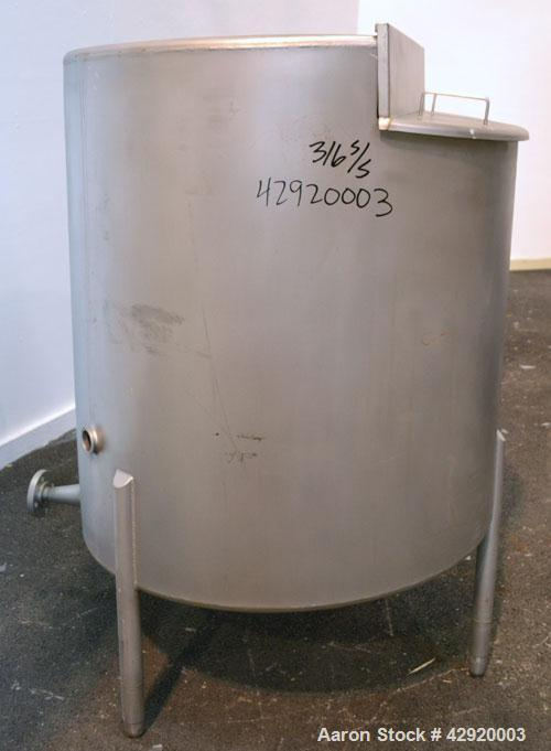 "Used- Tank, 190 Gallon, 316 Stainless Steel, Vertical. 3/4 Closed top with an ""L"" shaped opening with cover, sloped bottom. ..."