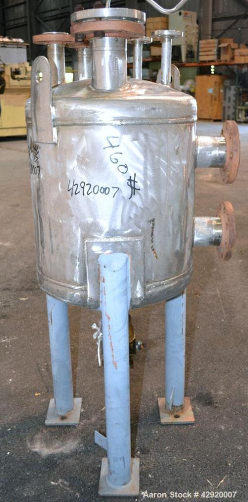 Used- Industrial Alloy Fab Pressure Tank, 45 Gallon, 304L Stainless Steel, Vertical. 24 Diameter x 22 straight side, dished ...