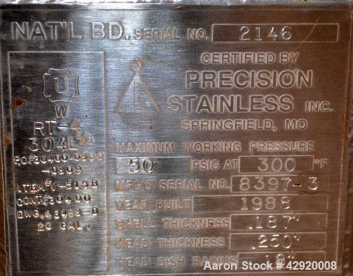 Used- Precision Stainless Pressure Tank, 20 Gallon, 304L Stainless Steel, Vertical. 17-1/2 Diameter x 20 straight side, dish...