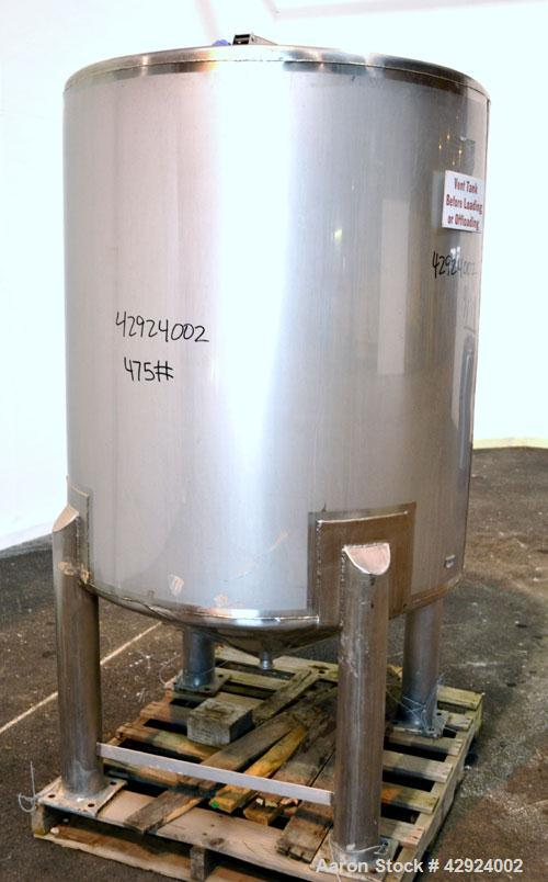 Used- Sanitary Stainless Welding Tank, 325 Gallon, 304 Stainless Steel, Vertical. Approximate 44'' diameter x 48'' straight ...