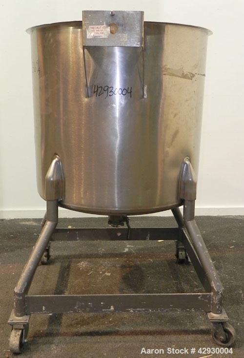 "Used- Perma-San Tank, 170 Gallon, Model OVC, 316 Stainless Steel, Vertical. 37"" Diameter x 36"" straight side. Open top, no c..."