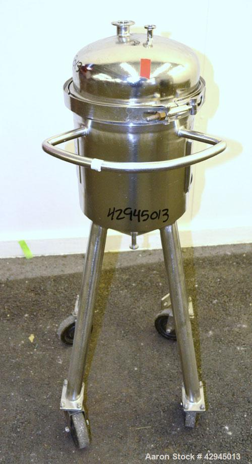 "Used- Precision Stainless Tank, 15 Liter (3.96 Gallon), 316L Stainless Steel, Vertical. 10-1/2"" Diameter x 11"" straight side..."