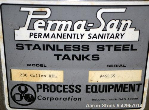 Used- Perma-San Tank, 200 Gallon, Model KTL, 304 Stainless Steel, Vertical. 44'' Diameter x 29'' straight side. Open top wit...