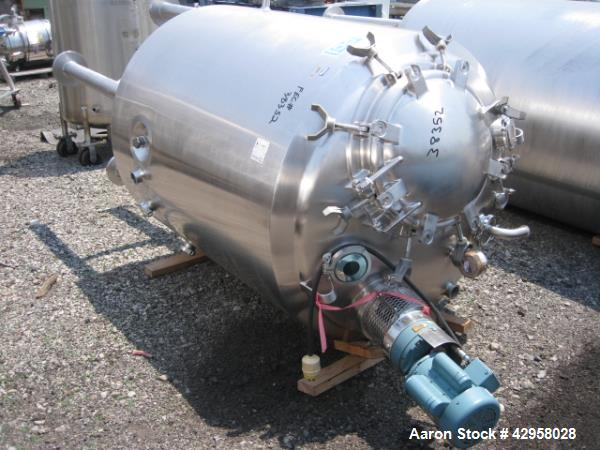 "Used- DCI tank, 1000 liters (250 gallons) 316L stainless steel constrution, approx. 42"" diameter x 36"" straight side, dished..."