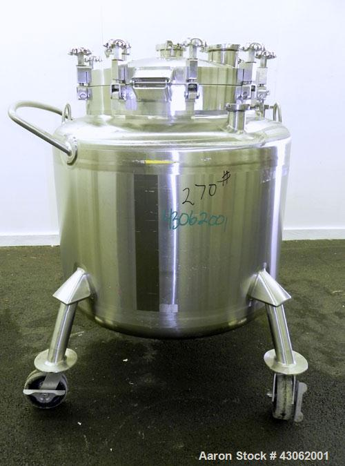Used- Feldmeier Pressure Tank, 350 Liter (92.48 Gallons), 316L Stainless Steel, Vertical. 36 Diameter x 20 straight side, di...