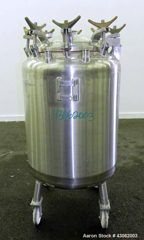Used- Letsch Pressure Tank, 50 Gallons, 316L Stainless Steel, Vertical. 24'' Diameter x 24'' straight side, dished top and b...