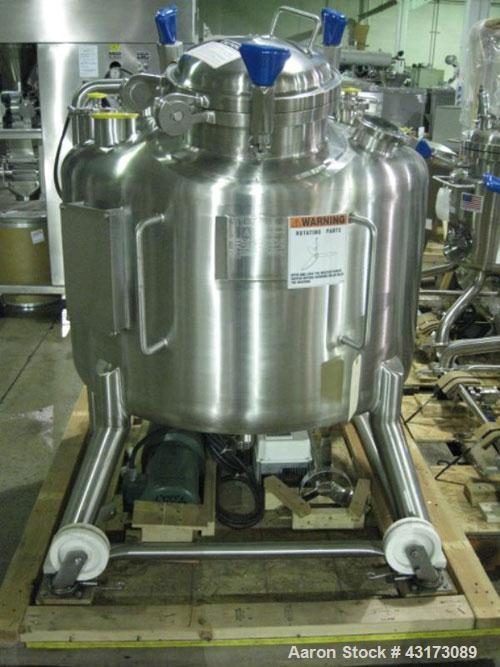 "Used- Pure Flo Agitated Receiver, 500 Liter (132 Gallon), 316L Stainless Steel Construction. Approximately 42"" diameter x 21..."