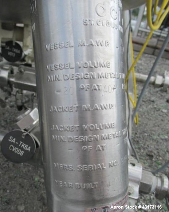 "Used- DCI Pressure Receiver, 140 Liter. 316L stainless steel construction, approximately 24"" diameter x 20"" straight side, r..."