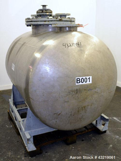"Used- Inox AG Pressure Tank, 1600 Liter (422 Gallon), 316L Stainless Steel, Horizontal. Approximate 44"" diameter x 54"" strai..."