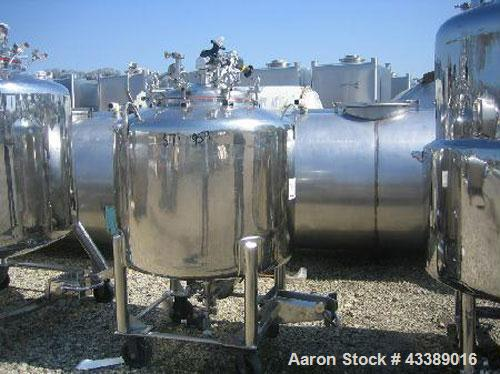 "Used- Tank, Approximately 100 Gallon, Electropolished Stainless Steel. 36"" Diameter x 23"" straight side. Mounted on wheels."