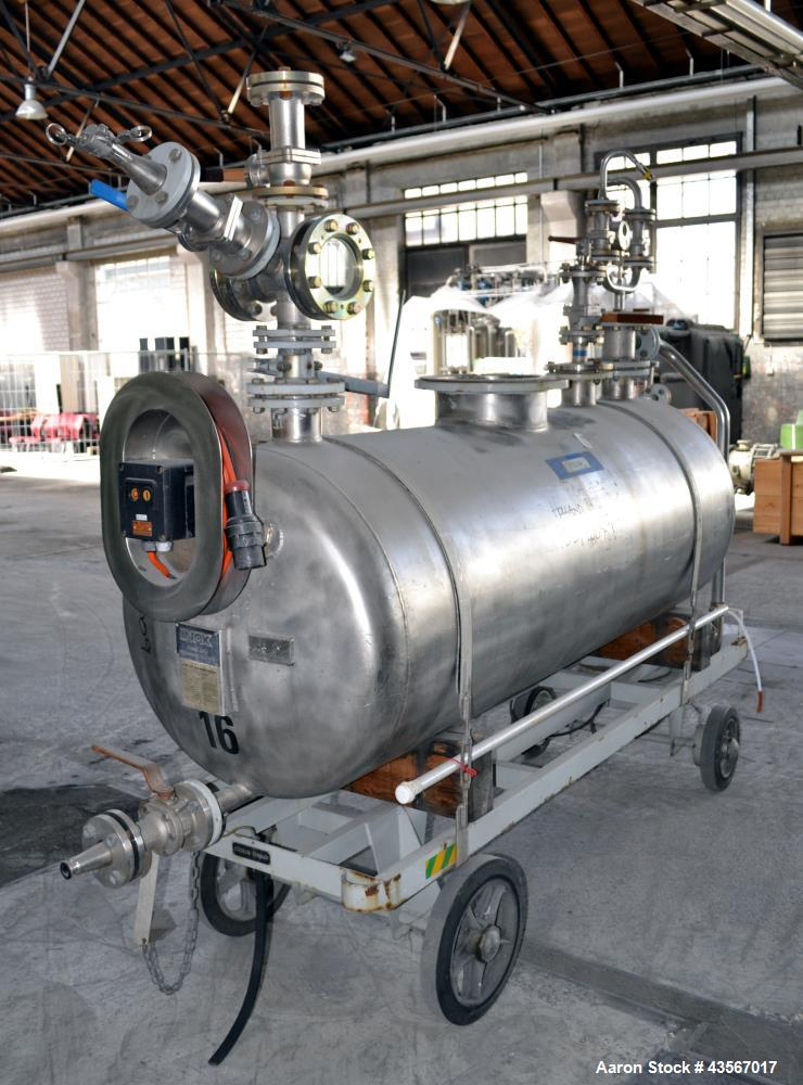 Used- Inox AG Mobile Pressure Tank, 1000 Liter (264.25 Gallon), 316L Stainless Steel, Horizontal. Approximate 31 diameter x ...