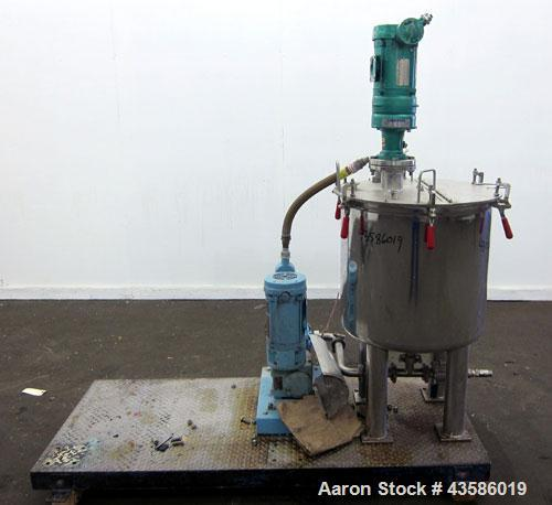 "Used- Graco Mixing System consisting of: (1) Graco tank, 45 gallon, 304 stainless steel. 24"" Diameter x 21"" straight side, o..."
