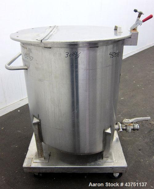 "Used- Water Cooling Corporation Tank, 100 Gallons, 304 Stainless Steel, Vertical. Approximately 31"" diameter x 34"" straight ..."
