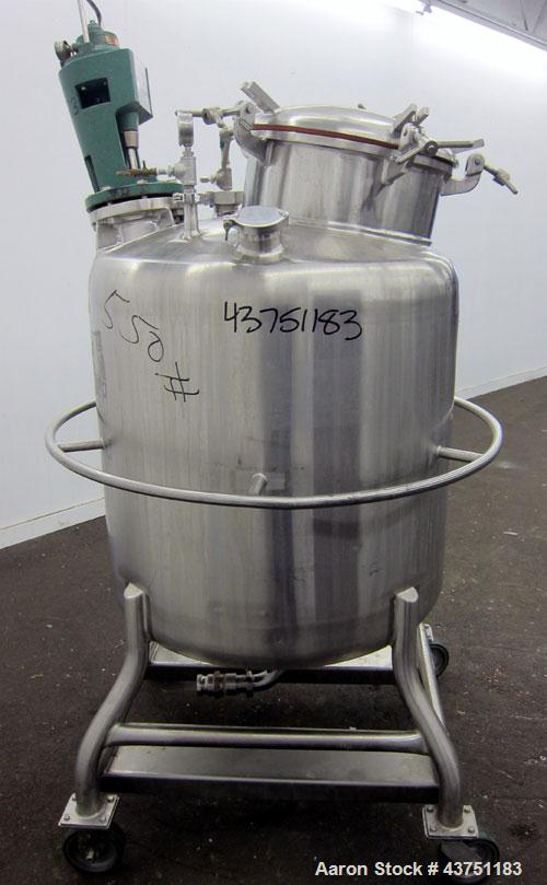 "Used- Mueller Tank, 100 Gallon, Model F, 316 Stainless Steel, Vertical.  36"" Diameter x 32"" straight side.  Dished top and b..."