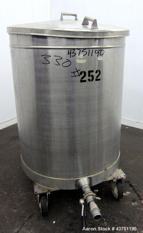 "Used- Tank, 200 Gallon, 316 Stainless Steel, Vertical. Approximate 38"" diameter x 47"" straight side. Open top with a 1 piece..."