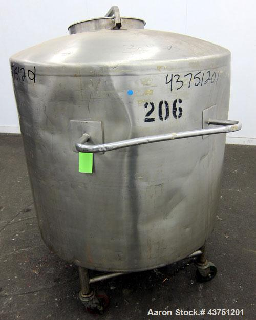 "Used- Groen Tank, 200 Gallon, 304 Stainless Steel, Vertical.  42"" Diameter x 35"" straight side.  Dished top, 1"" sloped botto..."