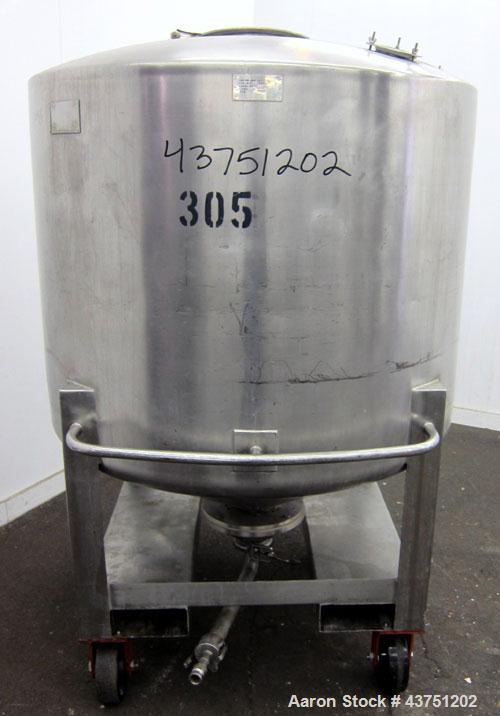"Used- Groen Tank, 335 Gallon, 304 Stainless Steel, Vertical.  48"" Diameter x 36"" straight side.  Dished top, coned bottom.  ..."