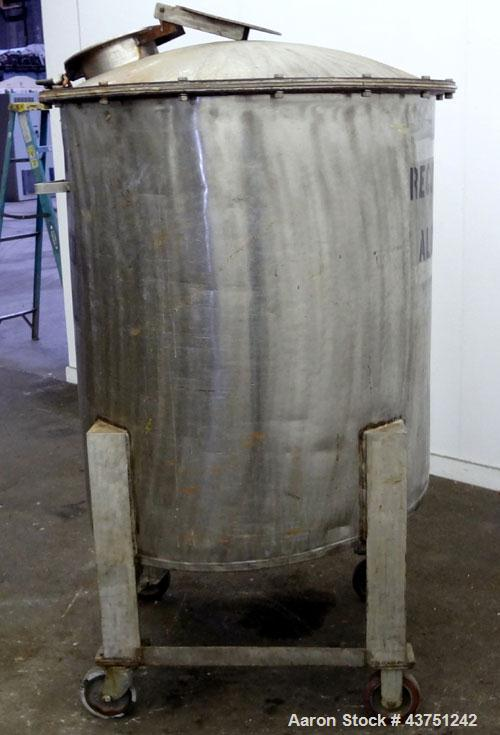 "Used- Tank, 100 Gallon, 304 Stainless Steel, Vertical. 30"" Diameter x 34"" straight side. Dished bolt-on top with an 8"" hand ..."