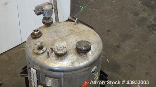 "Used- Alloy Fab Pressure Tank, 300 Gallons, 316L Stainless Steel, Vertical.  42"" Diameter x 47"" straight side, dish top and ..."