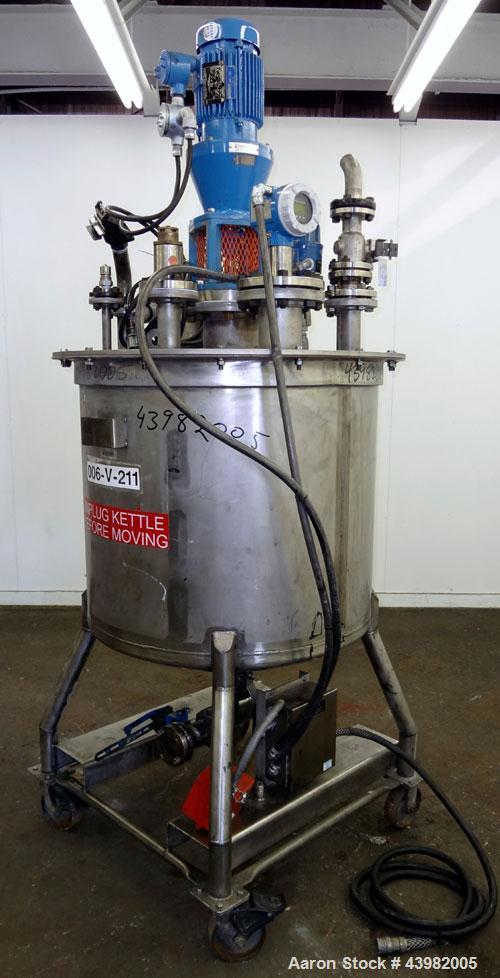 "Used- Val-Fab Tank, 150 Gallon, 316L Stainless Steel, Vertical. 36"" Diameter x 31"" straight side, flat bolt on top, dished b..."