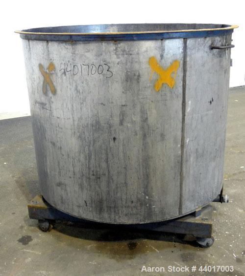 "Used- Tank, 400 Gallons, 301 Stainless Steel, Vertical. Approximate 54"" diameter x 42"" straight side, open top, no cover, sl..."