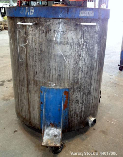 "Used- Tank, 400 Gallons, 304 Stainless Steel, Vertical. Approximate 49"" diameter x 51"" straight side, open top, no cover, sl..."