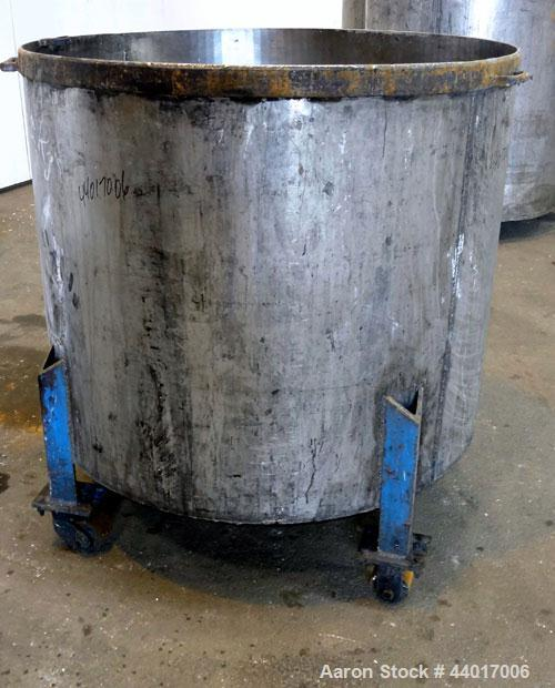 "Used- Tank, 300 Gallons, 301 Stainless Steel, Vertical. Approximate 48"" diameter x 40"" straight side, open top, no cover, co..."