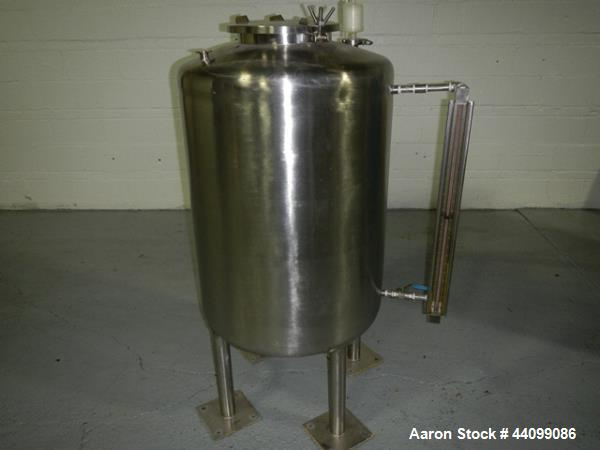 "Used- Tank, 75 gallon stainless steel, approximately 28"" diameter x 30"" straight side, dish top and bottom, 12"" hand hole, 1..."