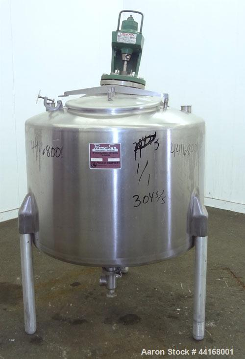 "Used- Perma-San Tank, 120 Gallon, Model CVS, 304 Stainless Steel, Vertical. 38"" Diameter x 24"" straight side, dished top, sl..."