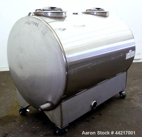 "Used- Precision Tank & Equipment Tank, 430 Gallon, 304 Stainless Steel, Horizontal. 44"" Diameter x 60"" straight side, dished..."