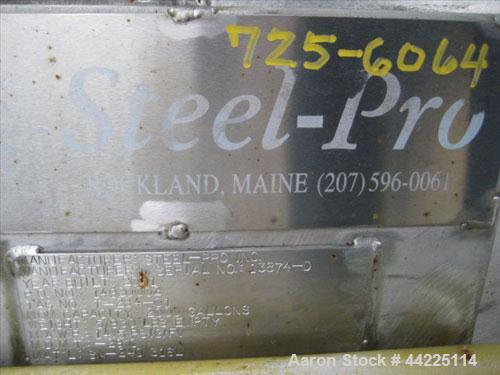 Used- Steel Pro Pressure Tank, 2,000 Gallon, 316 Stainless Steel, Vertical.  5' Diameter x 12' straight side.  Dished top an...