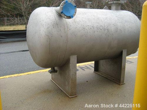Used- Steel Pro Pressure Tank, 300 Gallon, 316L Stainless Steel, Horizontal.  Internal rated 50 psi at 450 degrees F.  Built...