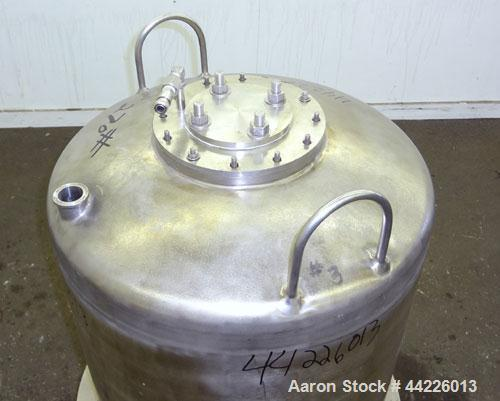 "Used- Tank, 50 Gallon (189 Liter), 316 Stainless Steel, Vertical. Approximate 24"" diameter x 30"" straight side, dished top a..."