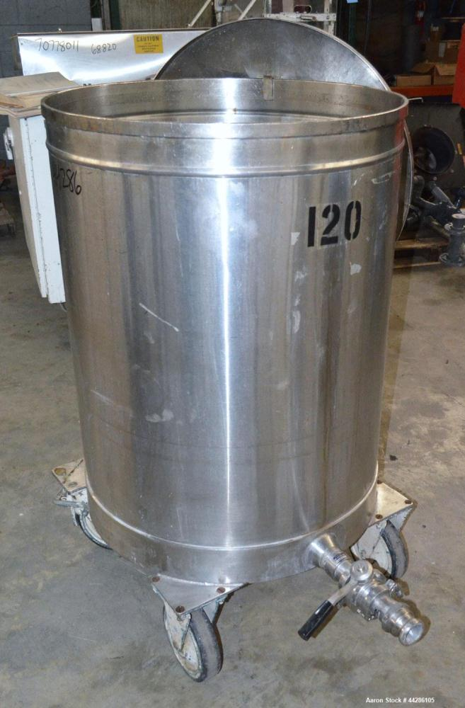 "Used- Tank, 100 Gallon, 304 Stainless Steel, Vertical. Approximate 31"" diameter x 38"" straight side. Open top with a 1 piece..."