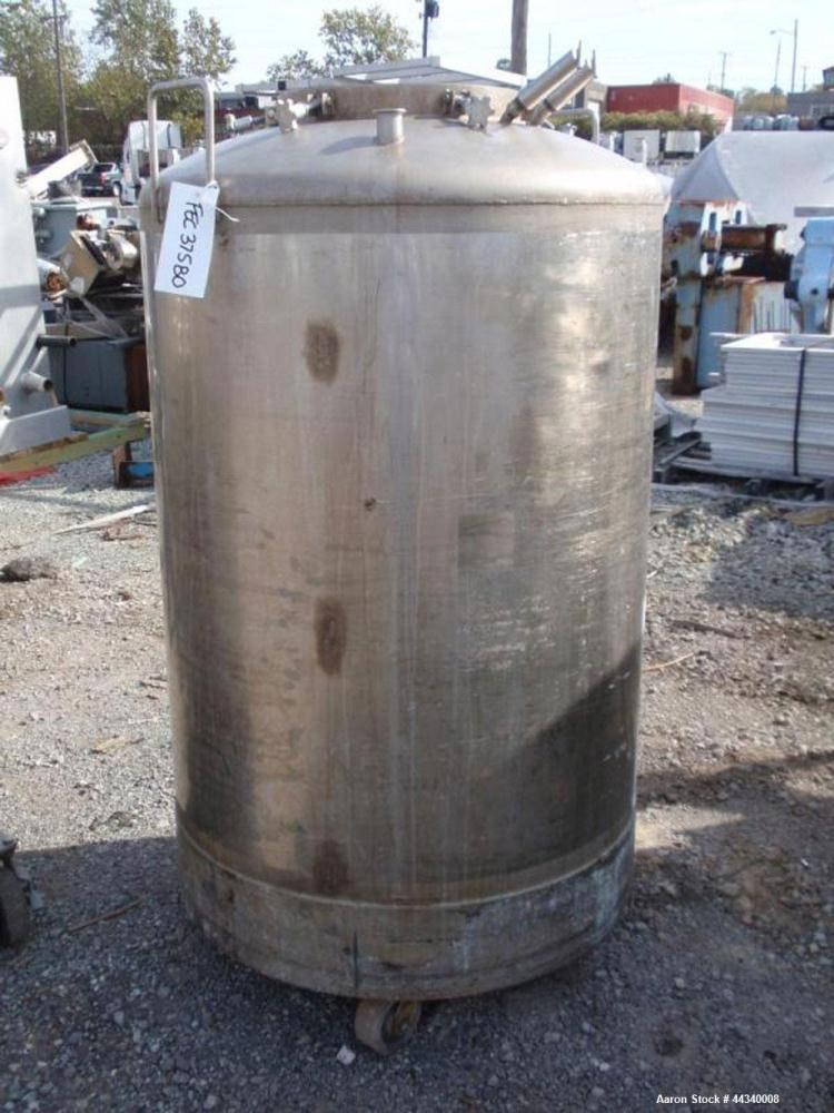 "Used- Tank, 200 Gallon, Stainless Steel. Approx. 38"" diameter x 42"" straight side, dished top and bottom, 18"" top access por..."