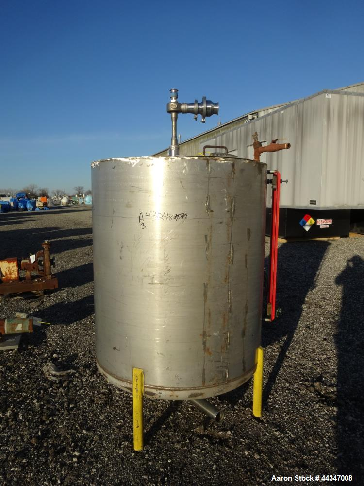 "Used- Tank, 425 Gallon, 316 Stainless Steel, Vertical. Approximate 48"" diameter x 52"" straight side, flat weled top, dished ..."