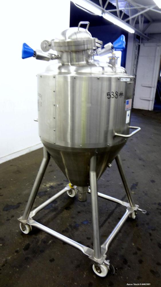 "Used- Precision Stainless Pressure Tank, 210 Liter (55.49 Gallon), 316 L Stainless Steel, Vertical.  Approximately 26.75"" di..."