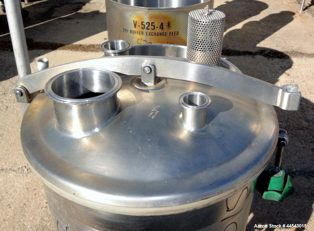 "Used- Tank, 30 Gallon, 316 Stainless Steel, Vertical.  Approximately 17"" diameter x 28"" straight side, hinged dished top, sl..."
